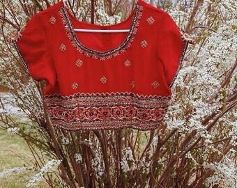 Vintage 1990s Indian Embroidered Sequin Choli Bellydancer Crop Top
