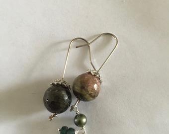 Green tourmaline, Silver Earrings, Emerald, Green pearl,