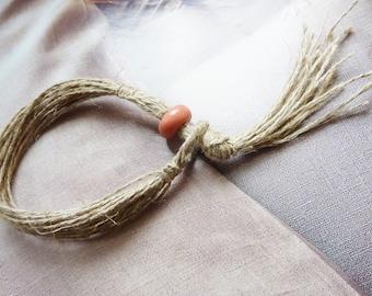 Bead Bracelet organic nature rustic wood and linen