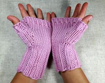 Organic Fingerless Gloves for kids, pink, 4 to 6 years, armwarmers wool merino,