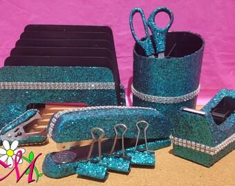 Glitter Office Supplies, 10-Piece Set, School Supplies, Teacher Supplies, (Your Choice of Color), Turquoise Office Supplies, Blue Office