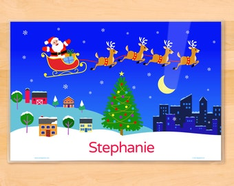 Kids Personalized Santa Claus and Reindeer Placemat, Kids Placemat, Christmas Tree Placemat, Kids Holiday Placemat, Laminated Placemat