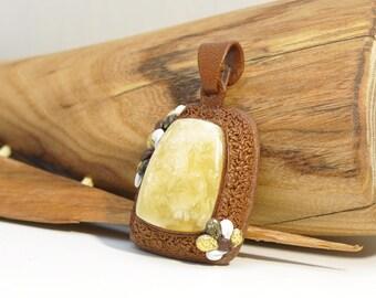 Baltic amber, leather, amber pendant, amber jewellery