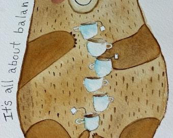 Balancing bear, original watercolor, children's art, whimsical art, tea cups, its all about balance, inspirational, nursery art, whimsical,