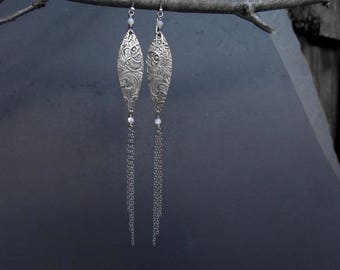 Silver Art Nouveau Earrings Silver Plated Up- Cycled Chain Earrings Artisan Metalsmith OOAK