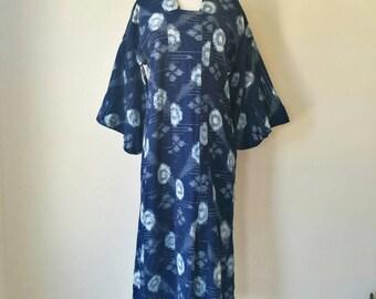 Vintage Japanese kasuri KIMONO modified dress