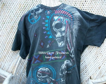 Skull TShirt ~ Biker Tshirt ~ Indian Skull TShirt ~ Black TShirt XXL ~ Retro Dead Head ~ Hand Painted