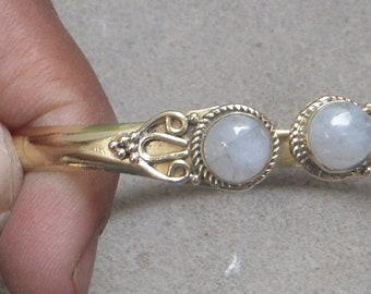 Brass Cuff Bracelet Rainbow Stone Adjustable Bracelet buff Polish