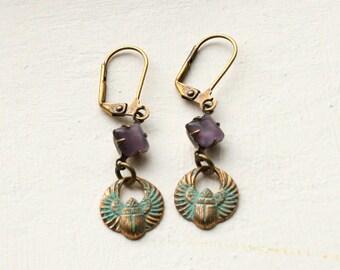 Scarab Earrings, Verdigris Patina Earings. Patina Earrings, Egyptian Beetle Earrings, Scarab Jewellery, Green Patina Jewelry