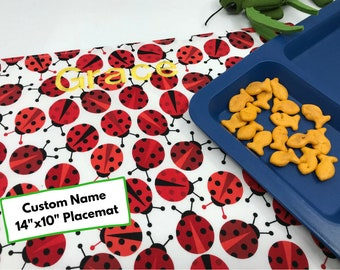 Name Placemat (Ladybug Placemat, Kids Waterproof Place Mat, For Children, Montessori Lunch, Fabric Placemat, Ladybird Gift Under 20)
