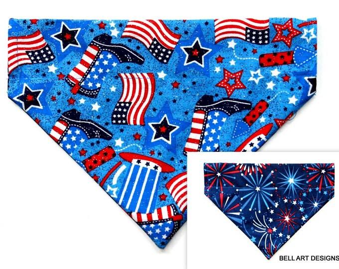 DOG BANDANA ~ Patriotic ~ Over the Collar ~ Reversible ~ Bell Art Designs ~ Medium ~ DCM0692