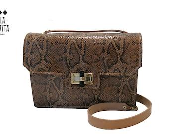 """handbag """"MARCELLO"""" Brown python print leather"""
