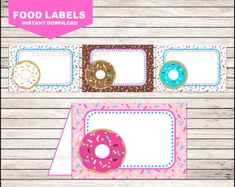 Donut Food Labels instant download, Donut Tent cards , Donut Party Food tent cards