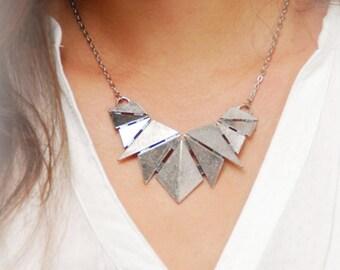 Silver Geometric Necklace, Triangle Art Necklace, Art Deco Necklace