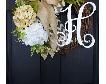 "18""-32"" Cream & White Hydrangea Wreath. Year Round Wreath. Spring Wreath. Summer Wreath. Door Wreath. Grapevine Wreath."