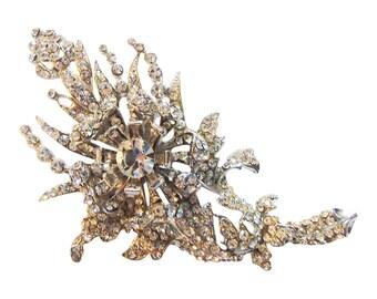 Magnificent Barrera Floral Rhinestone Brooch/Pin Vintage 1980 Jose and Maria Barrera Original Crystal Design Bridal Pin Rhinestone Pin