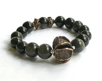 Obsidian and Antiqued Bronze Bohochic Minimalist Beaded  Bracelet  for Her Under 190 One of a Kind Free Gift Wrap