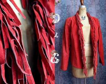Sz M 100% Genuine Leather Red Vintage 70s Fringe Jacket Native American