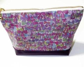 New!! Handmade makeup cosmetics  pouch bag liberty vinil coated Jenny's Ribbon ship from Japan