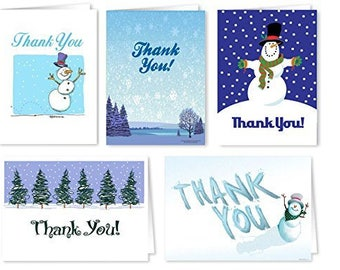 Assorted Winter Theme Note Card Pack - 20 Blank Note Cards & Envelopes - Holiday Note Cards - 905