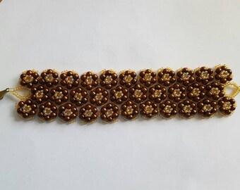 Bracelet  brown gold laced bracelet