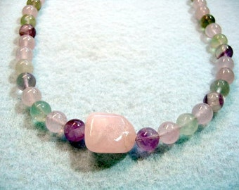 Natural Fluorite Necklace, Rainbow Fluorite Gemstones, Beaded Jewelry, Pink, Green and Purple Bead Necklace