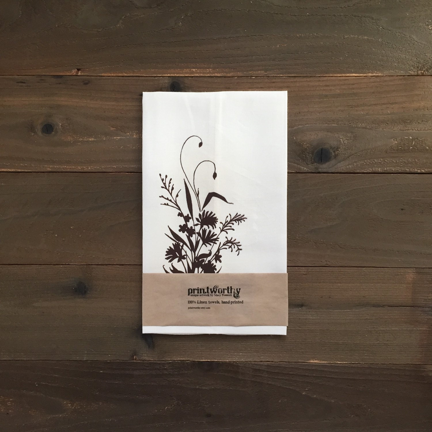 Tea towel linen dish towel alaska wildflower flower bouquet design screen printed kitchen towel zoom izmirmasajfo