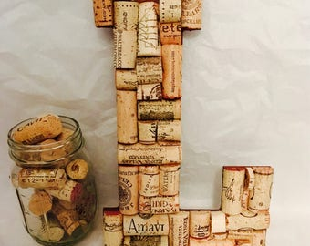 Wine Cork letter L; READY TO SHIP!