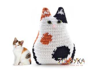 Calico custom cat pillow portrait calico kitten stuffed toy cat memorial cat lover gift idea crochet cat pillow personalized custom cat doll