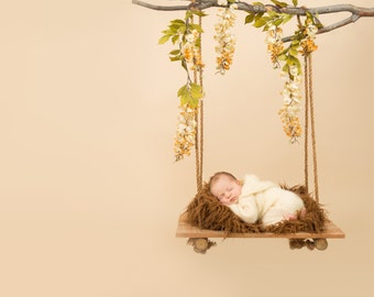 DIGITAL BACKDROP for newborn photography, Newborn Digital Backdrop Instant Download, wooden swing for newborn with flowers