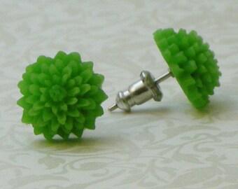 Mum Flower Earrings - Green