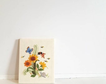 Vintage Flower, Butterfly and Bee Crewel