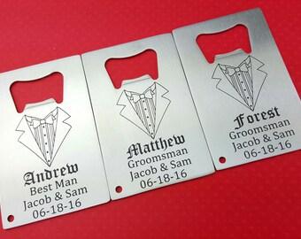 Groomsmen Wallet card, Bottle opener, personalized bottle opener, wallet card, Wedding bottle opener, Wedding Party,