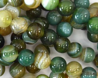 "8mm brown green stripe agate round beads 15"" strand 39504"