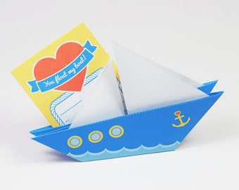 Printable DIY Origami Paper Love Boat Card