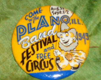 Plano ILL Festival and Free Circus Button from 1949
