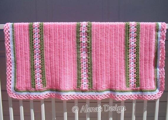 Crochet Pattern 210 Crochet Blanket Pattern Baby Blanket Blossom Crochet Afghan  Any Size Blanket Pink White Green Baby Shower Home Decor