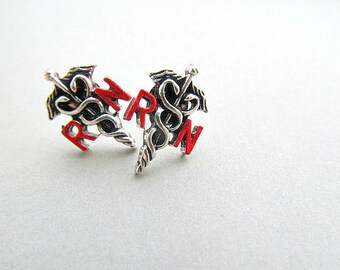RN Registered Nurse Stud Earrings Medical Sign Caduceus, Medical Student Earrings
