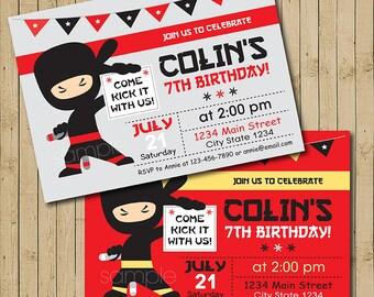 Ninja Invitation, Ninja Birthday Invite, Ninja Party, Printable