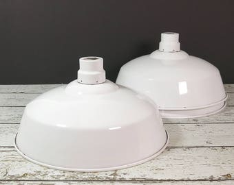 White Industrial Warehouse Pendant Light Shades - Three Vintage Metal Pendant Light Shades - Large Industrial Factory Salvage Lampshades