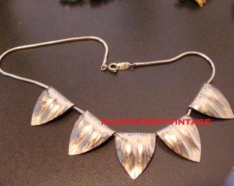 Vintage Napier Vintage Silver Sliding Leaf Necklace