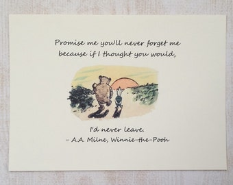 Never Forget Me - Winnie the Pooh Quote - Classic Pooh 5x7 Nursery Print