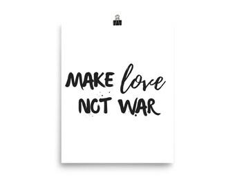 Make love not war white print