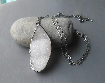 Long Oxidized Sterling Silver Druzy Pendant Necklace