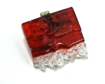 Art Glass Jewelry Wearable Statement Red Dimensional Hand Sculptured Crystal Like Pendant Necklace Artist Signed