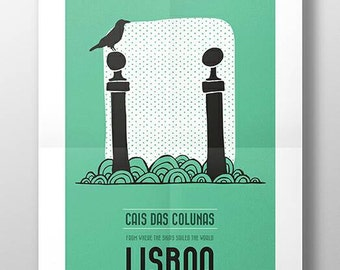Original PORTUGUESE LISBON CAIS DAS COLUNAS Wall Art Printing Poster Illustration Print Drawings Graphic Design Art Work Home Decor