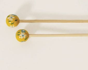 3 handcrafted bamboo knitting needles