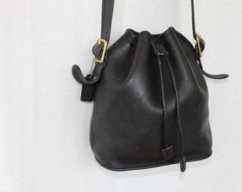 Vintage Coach Black Leather Bucket Drawstring Shoulder Bag