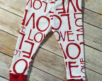 red and white LOVE leggings, Valentines leggings