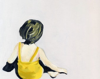 """SALE Girl in the Yellow Suit 18""""x18"""""""